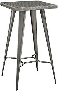 Modway Direct Rustic Modern Farmhouse Steel Metal Square Bar Table in Gunmetal