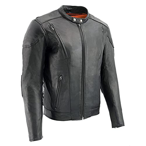 Milwaukee Leather ML1010 Men's Side Lace Vented Black Leather Scooter Jacket - Large