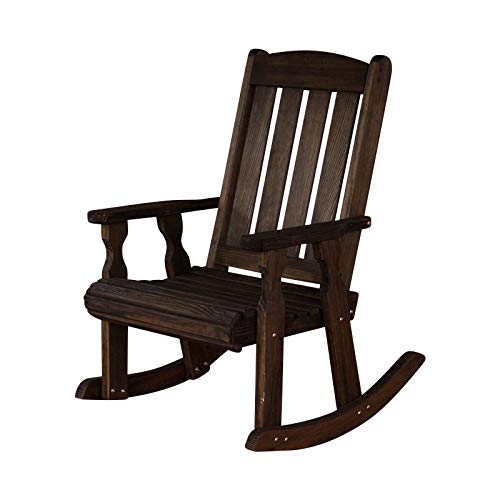 Amish Heavy Duty 600 Lb Mission Pressure Treated Rocking Chair (Dark Walnut Stain)