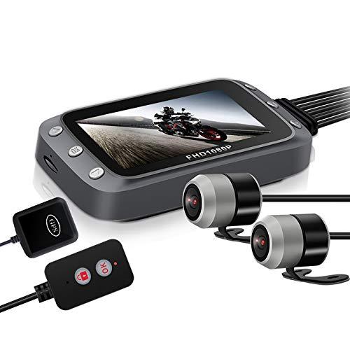 BaiTTang Motorcycle Dash CAM - Monitor LCD de 3', Soporte de Pantalla Dividida y Imagen en Pantalla de Imagen, WiFi/GPS, 1080P Vision a Prueba de Agua Vision140 ° Cámara Deportiva de Gran Angular