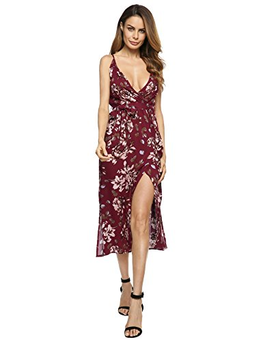 Meaneor dames bloemen verstelbare spaghettibandjes jurk V-hals maxi-jurk wikkeljurk zomerjurk met aftrekbare riem en zijdelingse sleuven
