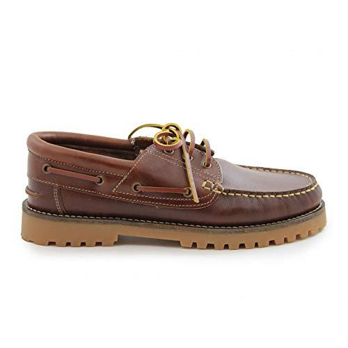 Calzados Benavente Zapatos Náuticos de Piel para Hombre y Mujer/Diseño Clásico/Cierre de Cordones, Color Camel