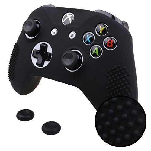 Pandaren® STUDDED peau de Housses Coque silicone anti-dérapant pour Xbox One S, Xbox One X Manette x 1 (noir) + thumb grip poignées x 2