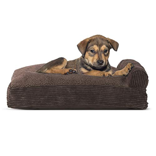 Furhaven Pet Dog Bed - Faux Fleece and Corduroy Deluxe Chaise Lounge Pillow Cushion Sofa-Style Living Room Couch Pet Bed with Removable Cover for Dogs and Cats, Dark Espresso, Small