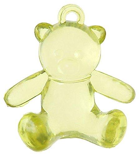 SANTEX 4401-10, Sachet de 6 Perles Ours en plastique de 2,5 x 2,9 cm, Vert