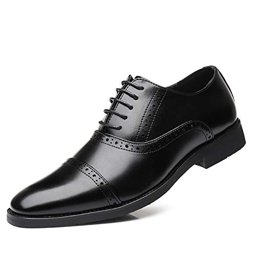 Semi Brogue Shoes Business Shoes Mens Dress Lace Up Derby Faux Leather...