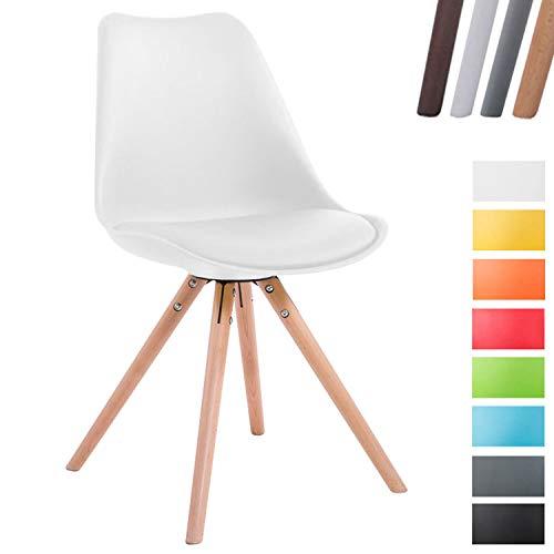 CLP Retro-Stuhl Toulouse Rund Mit Kunstlederbezug   Kunstoff-Lehnstuhl Mit Holzgestell Weiß, Natura