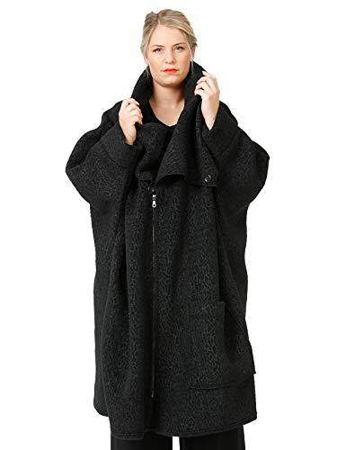 """AKH FASHION Oversize Mantel Damen """"Astrakan"""", schwarz, großer Lagenlook Mode Mantel mit Reißverschluss und überbreitem Kragen"""