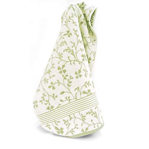 Linnea Serviette invité 33x33 cm Vintage Floral Vert 550 g/m2