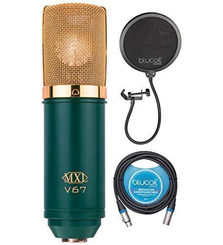 Micrófono condensador de cápsulas grandes MXL V67G para voz, guitarra, instrumentos acústicos y paquete de tambor con Blucoil cable XLR equilibrado de 10 pies y filtro Pop