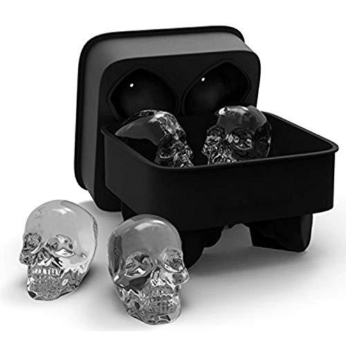QIEP Molde de silicona flexible para cubitos de hielo de calavera 3D, fácil liberación realista de cráneo cubitos de hielo