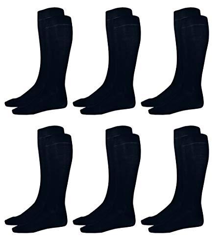 1stAmercican Calze Uomo 100% Cotone Lunghe, Caldo Cotone, Tinta Unita Navy, Elasticizzata - Calzini Uomo Taglia 42/43, 6 Paia