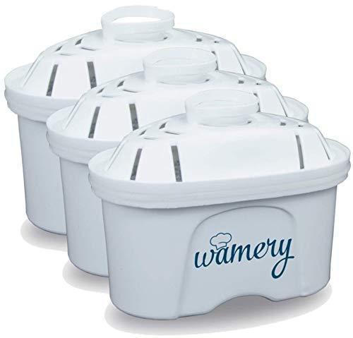 Wamery 3 x Replacement Filtre d'eau. Adéquat pour Carafe et Mavea 1001122 kit de Filtration. Améliorez Le Niveau de pH. Purifiez l'Eau du Robinet. Eliminez Les Bouteilles Plastiques