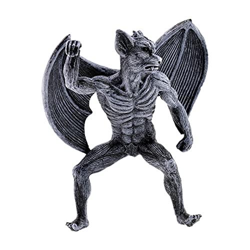 Fusong Esculturas Resina Artesanías Escultura Decoración Ángel Alas Y Demonio Resina Decoración Jardín Diablo Ángel Trompeta 15X12X8CM 250g