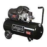 SCHEPPACH - Compresseur horizontal bi-cylindre lubrifié 100L 10 bar 3CV, 2 manometres et 2 raccords rapides - HC110DC Black E…