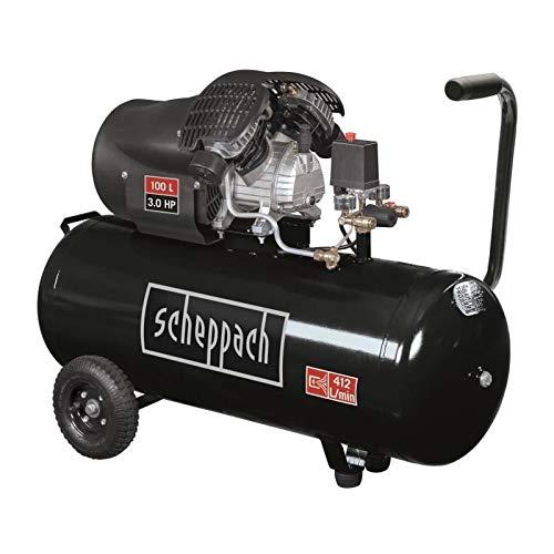 professionnel comparateur SCHEPPACH – Lubrification horizontale compresseur 2 cylindres 100L 10 bar 3CV, 2 manomètres et 2… choix