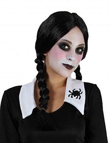 Peluca para mujer de Fancy Dress Wigs, peluca trenzada para disfraz o Halloween, color negro, diseño de 'Miércoles' de la Familia Adams