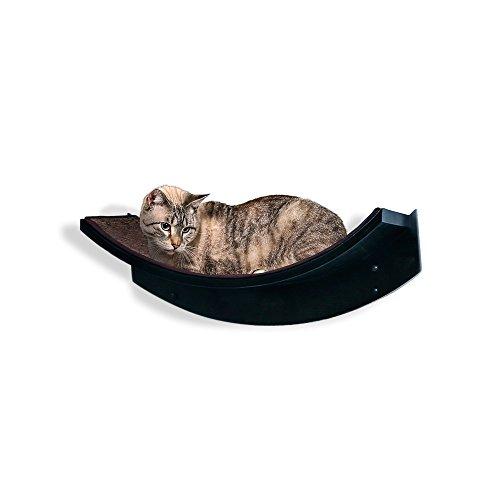 THE REFINED FELINE Lotus Leaf Cat Shelf, Modern Sturdy Curved Design Cat Wall Perch, Elegant Wood Wall Mounted Cat Bed Furniture