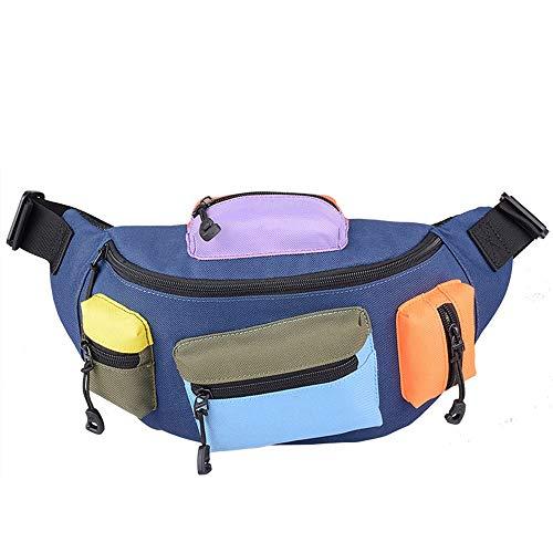 RJJ Oxford Tuch Kontrast Farbe Rucksack Männer Persönliche Handytaschen Multifunktions Brusttasche Outdoor Sport Reiten Umhängetasche (Farbe : Blue)