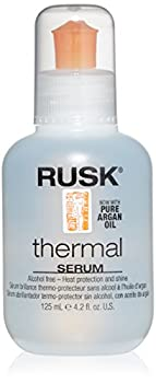 RUSK Designer Collection Thermal Serum with Argan Oil 4.2 Oz Alcohol-Free Heat Protection and Shine Frizz Eliminator Great for Conditioning and Incredible Shine