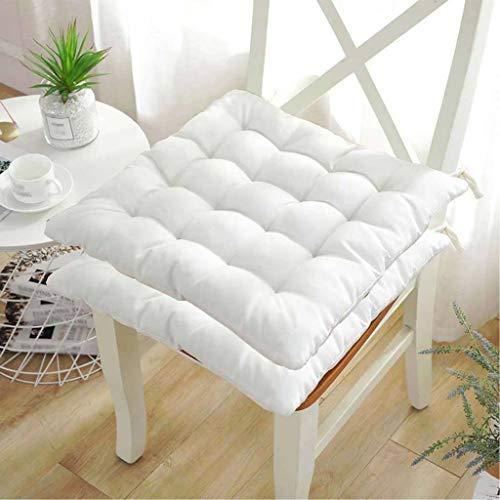 Stuhlkissen, 45x45x5 Sitzkissen Stuhlkissen für Esszimmer, stuhlkissen waschbar für gartenmöbel mit Bänder, sitzpolster stuhl sitzpolster boden Gartenkissen für drinnen und draußen-1Packungen-Weiß