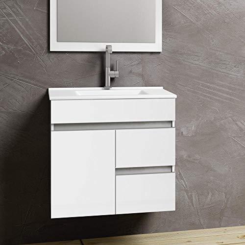 Kulldesign.com Conjunto Mueble de baño suspendido con Lavabo y Espejo