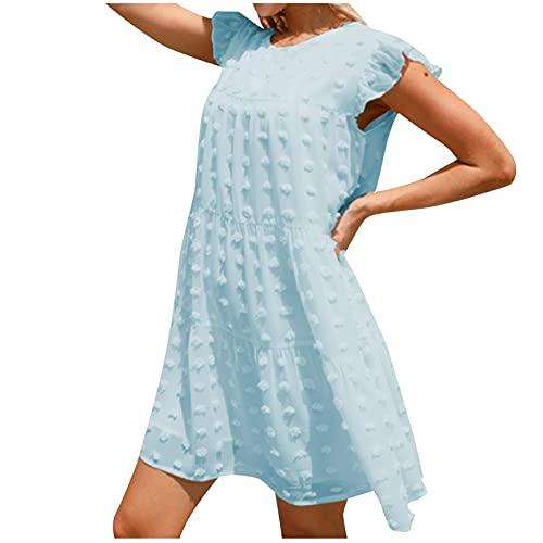 Liably Vestido de verano para mujer, elegante, monocolor, suelto, cómodo, manga corta, cuello redondo, minivestido, moderno, blusa, vestido de punto., azul claro, L
