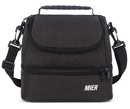 MIER 2 Compartment Kids Small Lunch Box Bag for Boys Girls Toddlers, Adult Leakproof Cooler Insulated Lunch Tote with Shoulder Strap (Dark Grey)