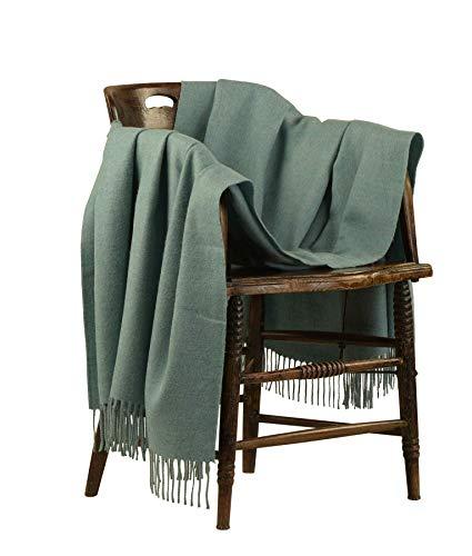 Manta ligera de alpaca de 100% fibra de alpaca para sofá (verde)