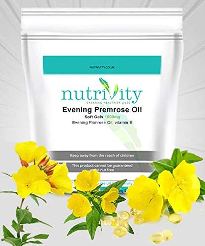 Evening Primrose Oil 1000 mg Capsules, Skin Hair PMS Supplement by Nutrivity (240)