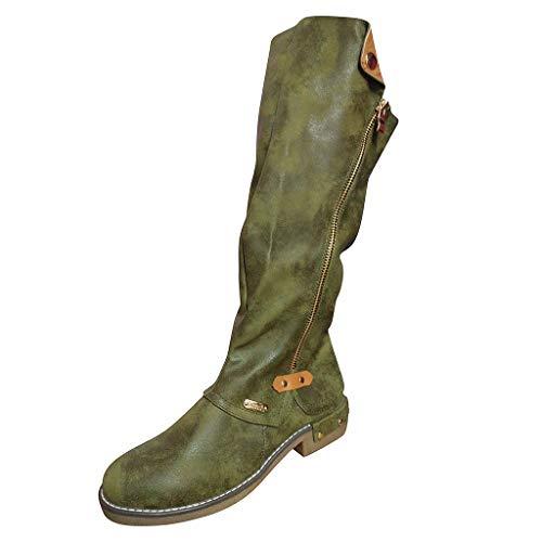 WUSIKY Bootsschuhe Damen Stiefeletten Boots Damen Fashion Western Style Cowboy Reitstiefel Casual Knie Mittelrohrstiefel (Grün, 41 EU)