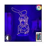 MTYQE 3D Lampe Anime Waifu Mai Sakurajima Led Nachtlicht Für Schlafzimmer Dekor Mai Licht Geschenk Für Freund Sakurajima Bunny Girl Led Lampe Anime Geschenk