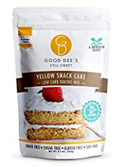 NEW and improved formula! Now IMO free! Always maltitol free. Sweetened with erythritol and stevia. LOW CARB & DAIRY FREE: Good Dee's Yellow Snack Cake Mix is 2g net carb per serving, sugar free, and grain free. This mix goes back to my Texan roots. ...