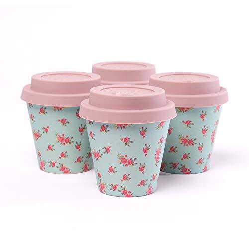 QUY CUP. Passion. Tazze Espresso in bambù. Set di 4 Tazze Espresso Prodotte con Fibre Naturali di bambù. 90ml. Design Italiano Esclusivo, Sostenibile, Senza BPA