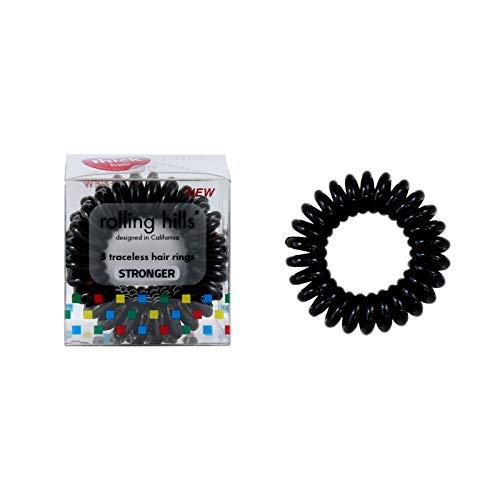 Rolling Hills - 5 stärkere Haargummis - Verstärkte Spiralringe zum Binden der Haare - Für Sport, Tanz, Schwimmen - Schwarze Farbe