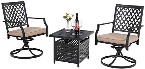 PHI VILLA 3 Pieces Patio Swivel Set Outdoor Metal Steel Furniture with Outdoor Swivel Dining Chairs and Umbrella Side Square Table, bar, Beige Cushions