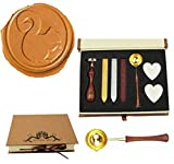 MNYR Vintage Squirrel Sealing Wax Seal Stamp Wood Handle Melting Spoon Wax Stick Candle Gift Book Box kit Wedding Invitation Embellishment Holiday Card Christmas Gift Wrap Package Seal Stamp Set