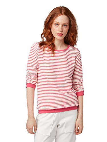 TOM TAILOR Denim Damen Gestreifter Pullover, Rosa (Pink White Structure 21078), Small (Herstellergröße: S)