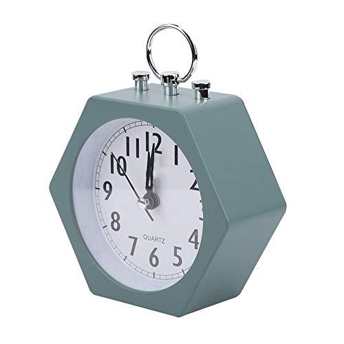 Agatige Reloj de Mesa de Escritorio, Reloj Despertador Digital Hexagonal, pequeño Despertador silencioso para Dormitorio de niños, mesita de Noche(Verde)