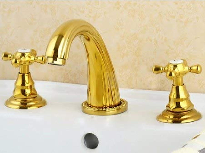 U-Enjoy Kronleuchter Messing Bad Massiv Sink Double Top Qualitt Griffe Wasserhahn Einzigen Spout Mixer Deck Mounttap Kostenloser Versand [Gold]