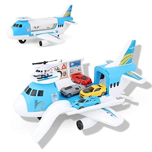 Dettelin Flugzeug Auto Spielzeug Set mit Transport Fracht Flugzeug für 3+ Jahre alte Kinder , Bildungsfahrzeugbau Auto Set für Kinder Kleinkind Jungen Kind Geschenk