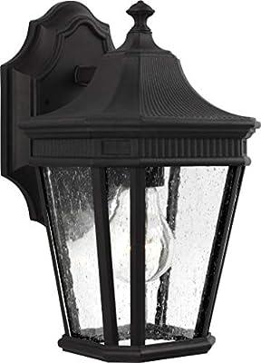 "Feiss OL5420BK Cotswold Lane Outdoor Patio Lighting Wall Lantern, Black, 1-Light (7""W x 12""H) 100watts"