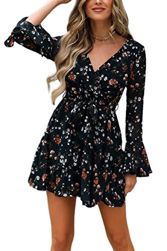 Vestido Casual de Verano para Mujer Vestido Corto de Línea A de Mangas Largas con Volantes con Estampados de Flor Minivestido de Cuello V Vestido de Fiesta para Chicas (Negro, S)