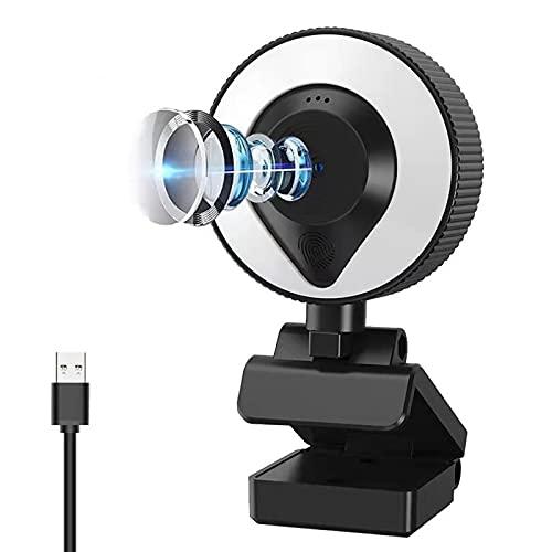 HLHome Webcam PC con Micrófono Estéreo, 2K Full HD Webcam Streaming, Autofocus, Noise Reduction Microphone, 60fps, 3 Tipos de Luces Cámara Web Compatible con Windows, Mac, Android, PS4