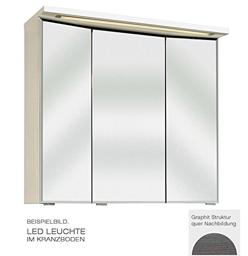 PELIPAL Trentino 920 Spiegelschrank 3D / Graphit/LED-Leuchte / 90 x 72 x 20 cm/EEK: A++