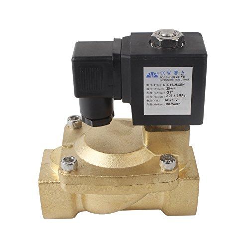 """TOP G1"""" Zoll Magnetventil AC 230V DN25 Stromlos Geschlossen NC(0,3~16Bar) Elektrisches IP65 Messing Servogesteuert, Wasser Gas Öl usw"""