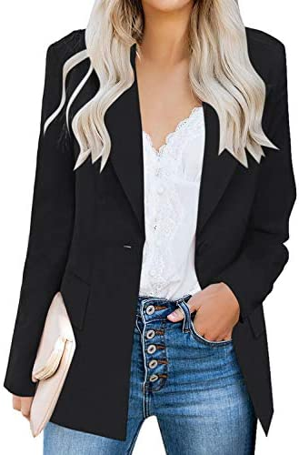 luvamia Women s Long Blazer Jacket Casual Notched Lapel One Button Work Office Blazer Jacket product image