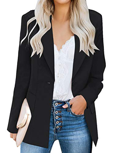 luvamia Women's Long Blazer Jacket Casual Notched Lapel One Button Work Office Blazer Jacket Suit Black Size Small (Fits US 4-6)