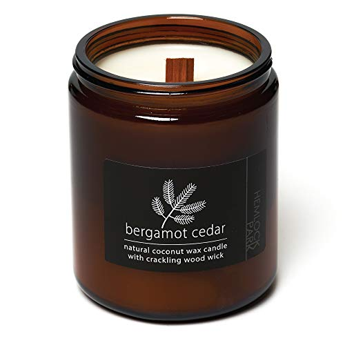 Crackling Wood Wick Candle Handcrafted with Organic Coconut Wax and Essential Oils (Bergamot Cedar, Standard 8 oz)