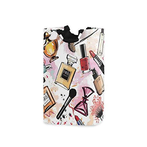 COFEIYISI Wäschesammler Wäschekorb Faltbarer Aufbewahrungskorb,Kosmetik und Make-up-Thema Muster mit Parfüm Lippenstift Nagellack Pinsel modern,Wäschesack - Wäschekörbe - Laundry Baskets